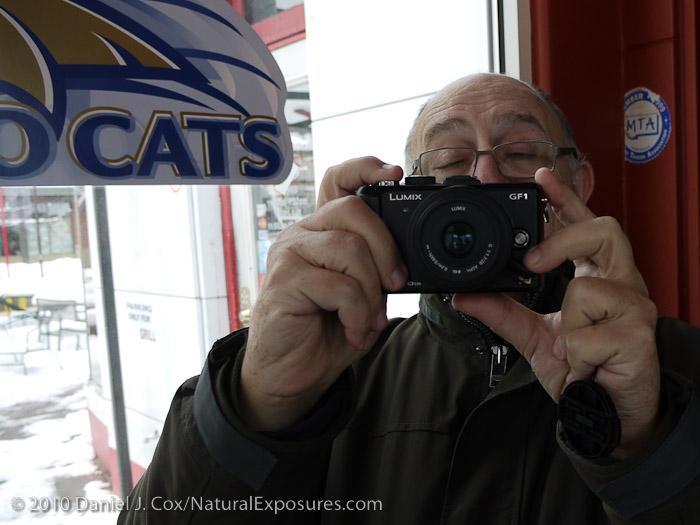 My buddy Leon shooting his new Lumix GF1 in Bozeman, Montana.