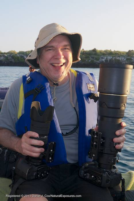 Good friend and fellow Explorer Fred Kurtz with his two favorite lenses, the 200-400 & 70-200 F/2.8 during his trip with us in the Galapagos.