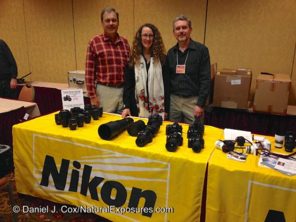 Photographer Daniel Cox, Nikon Rep Rose Whitaker and Marshal Lewis of Bozeman Camera at the Bozeman Camera Photo Expo in Bozeman, Montana.