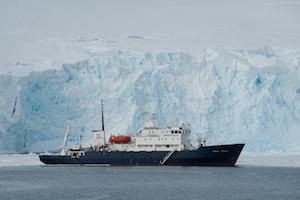 Polar Pioneer anchored in Fast Ice, Port Lockroy, Antarctica