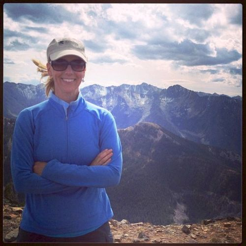 Melynda Harrison in the mountains near her home in Livingston, Montana