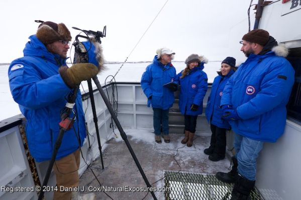BJ Kirschhoffer running the camera for a Tundra Connection episode with PBI scientists Dr. Don Moore, Dr. Megan Owen, Dr. Cecilia Bitz and Dr. Andrew Derocher on the back of Buggy One.