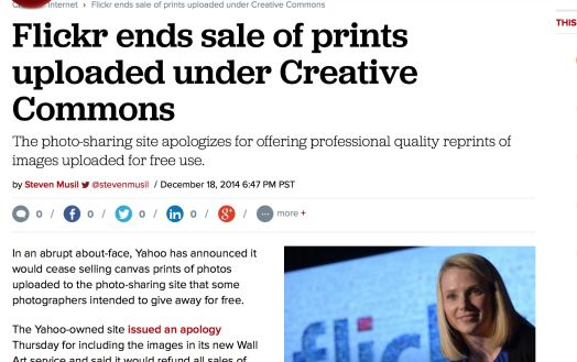 Cnet reports Flickr and Yahoo have caved on selling Creative Commons photos as prints.