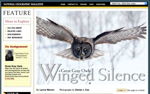 Only the images in the world make the pages of National Geographic. I studied this magazine for two decades before I was fortunate enough to grace their pages. Click here to see my story on Great Gray Owls