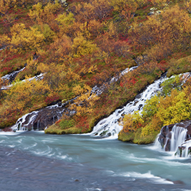 600-03460441© Frank KrahmerModel Release: NoProperty Release: NoHraunfossar Waterfall flowing into Hitva River, Iceland