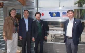 Daniel Cox with Yasuhide Yamada, Shinji Watanabe and Henri Nishikawa at the Natural Exposures office after meetings with Panasonic executives to discuss future lens development. Bozeman, Montana