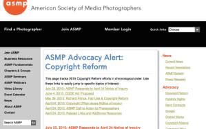 ASMP web page announcing copyright reform information.