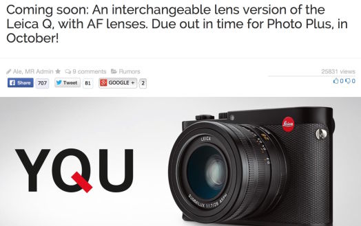 Mirrorless Rumors reports a new Full Frame camera coming from Leica that is built by Panasonic. Sounds very interesting.