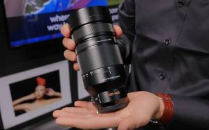 An apparent prototype of the new and not yet released Lecia/Lumix 100-400mm zoom being shown at the Swedish photo show known as Fotomässan 2015.