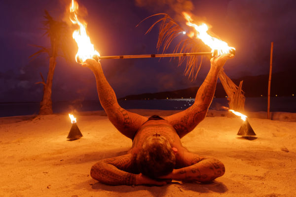 Tahitian fire dancer performing on the island of Bora Bora, Tahiti Lumix GX8 with Olympus 12mm F/2.0 lens ISO 1600